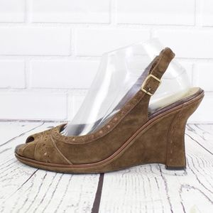 Cole Haan Brown Suede Slingback Wedge Shoes Sz 10